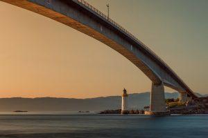 bridge, lighthouse, sunset