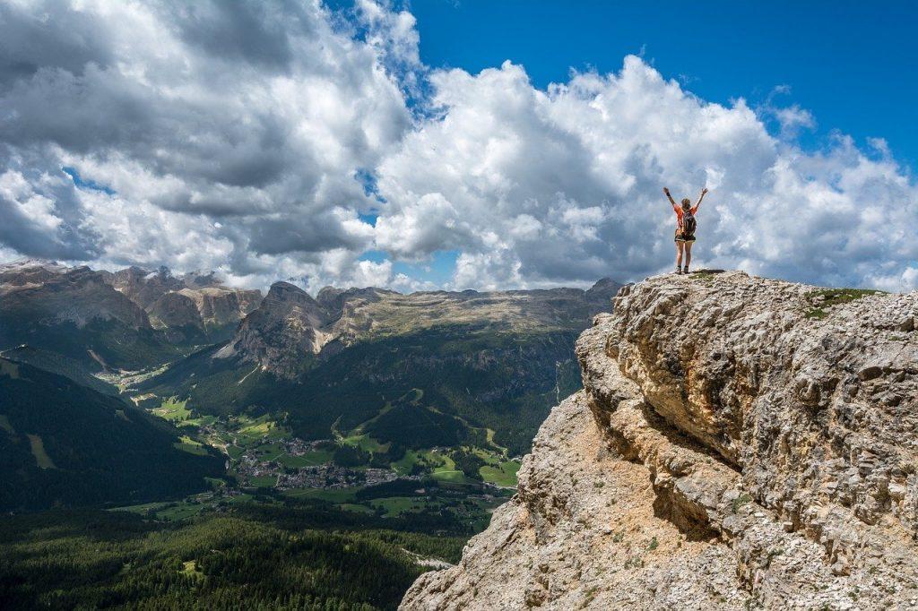 person, mountain top, achieve